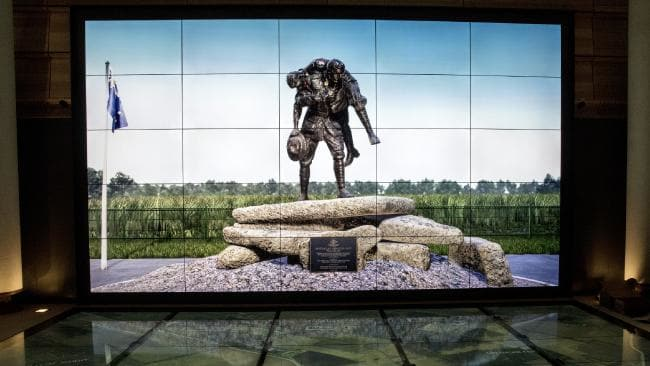 Interactive screens inside the galleries at Sir John Monash Centre on the site of the Australian Memorial outside Villers-Bretonneux. (Pic: Ella Pellegrini)